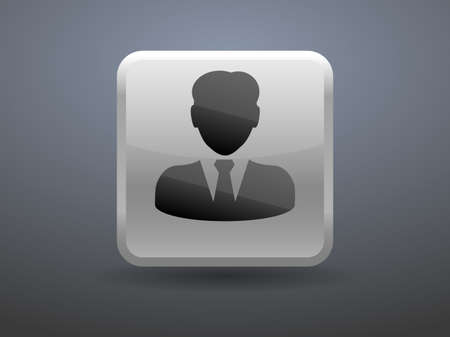 glossiness: 3d glossiness button icon of businessman