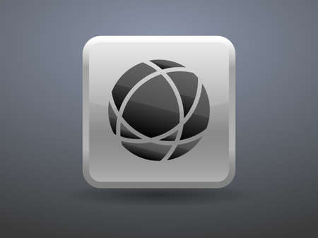 glossiness: 3d glossiness button icon of globe Illustration