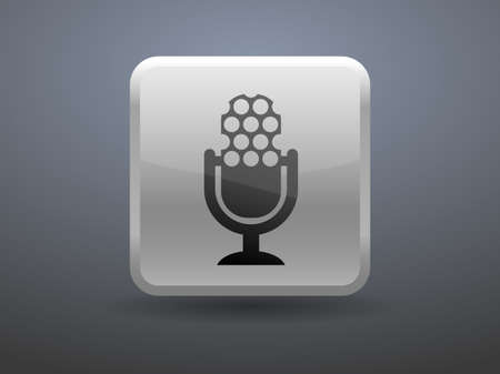 glossiness: 3d glossiness button microphone icon Illustration