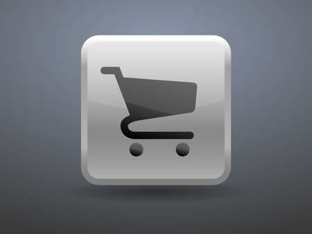 shopping chart: 3d glossiness button icon of shopping chart Illustration