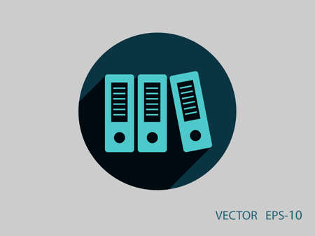 in a row: Flat long shadow Row of binders icon, vector illustration