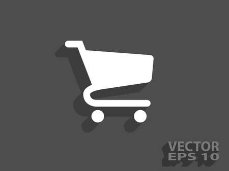 shopping baskets: Flat icon of shopping chart Illustration