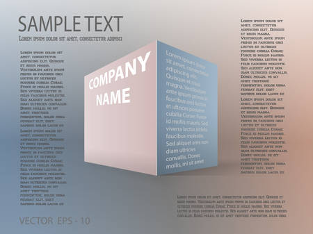 Vector illustration of business template poster. Imitation three-dimensional figure of box