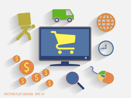Vector Piso Diseño estilo de ilustración del concepto de comercio electrónico
