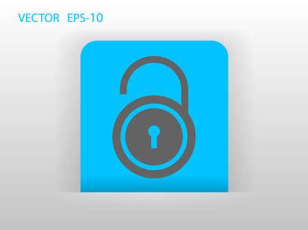 forbidden to pass: Flat icon of unlock