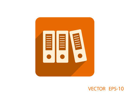 in a row: Flat long shadow Row of binders icon Illustration