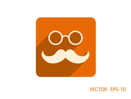 eyeglasses: Flat long shadow Hipster retro style mustache and eyeglasses icon