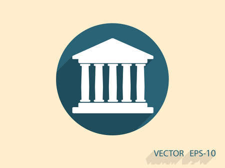 Flat  icon of bank building Vector