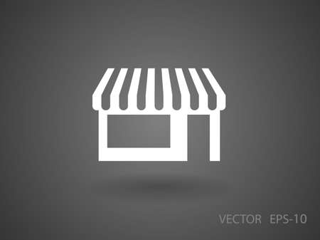 icons business: Flat long shadow Store icon, vector illustration