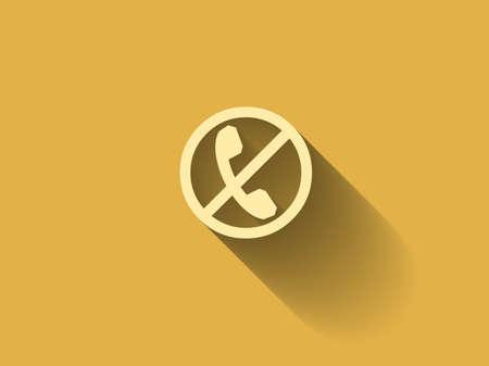 phone ban: long shadow turn off phone icon Illustration