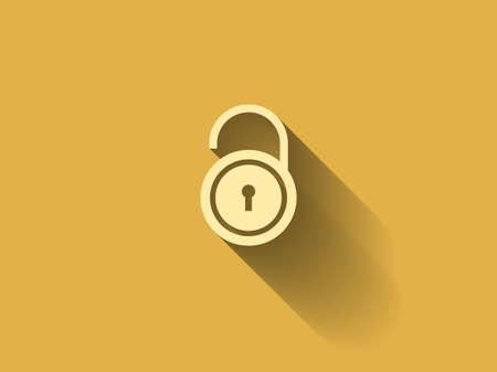 coded: long shadow Flat icon of unlock