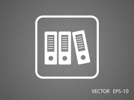 Flat long shadow Row of binders icon Illustration
