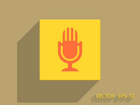 voices: Flat  icon of microphone Illustration