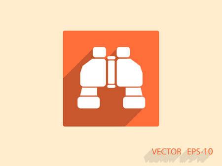 binoculars view: Flat long shadow Binoculars icon, vector illustration Illustration