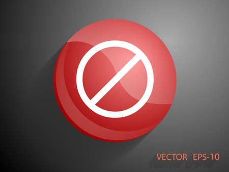 prohibition: Icone plat d'une interdiction