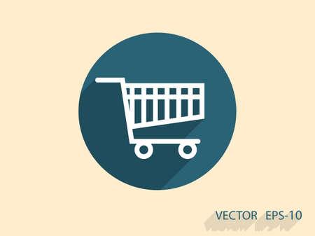 add: Flat icon of shopping chart Illustration