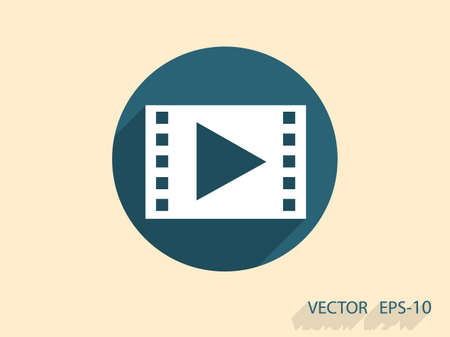 cinema screen: Flat icon of video