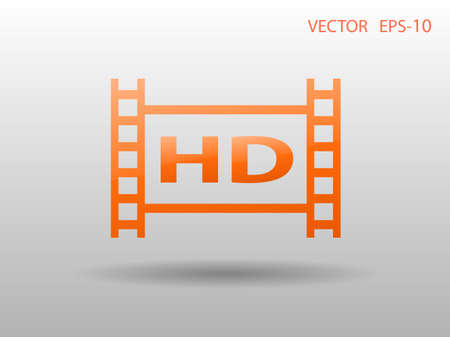cinema screen: Flat icon of hd video