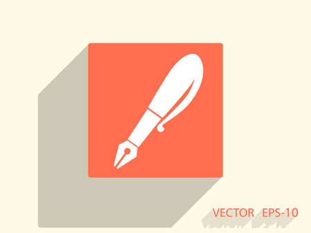 learning icon: Flat  icon of pen