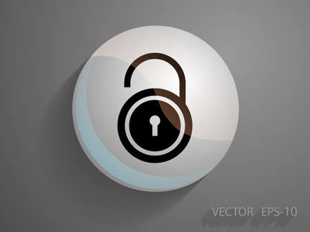forbidden to pass: Flat icon of unlock