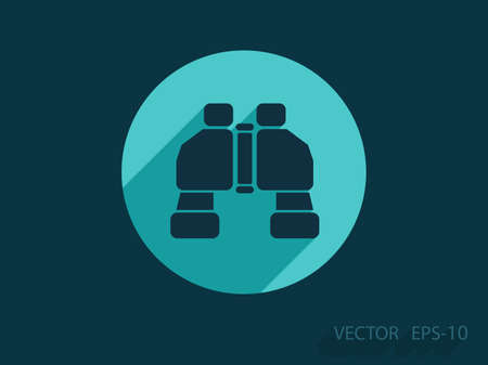 travel icon: Flat long shadow Binoculars icon, vector illustration Illustration