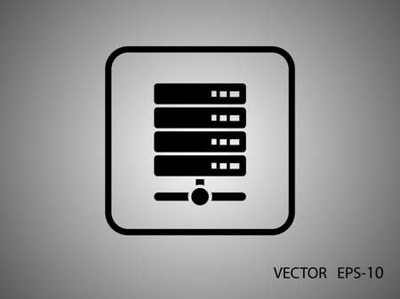 data center data centre: Flat long shadow Computer Server icon, vector illustration