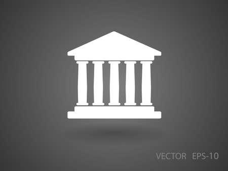 roman column: Flat  icon of bank building