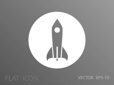 satellite launch: Flat  icon of rocket