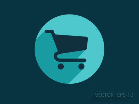 add to cart: Flat icon of shopping chart Illustration