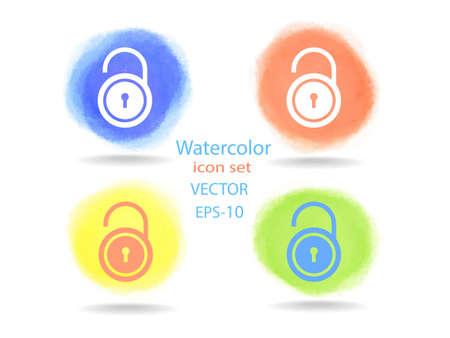 forbidden to pass: Flat icon of unlock simbol Illustration
