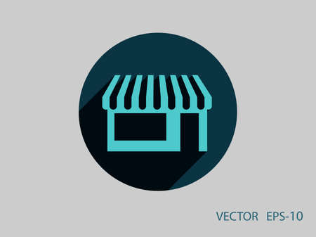 mall signs: Flat long shadow Store icon, vector illustration