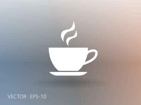 hot drink: Flat long shadow Cup of hot drink icon, vector illustration Illustration