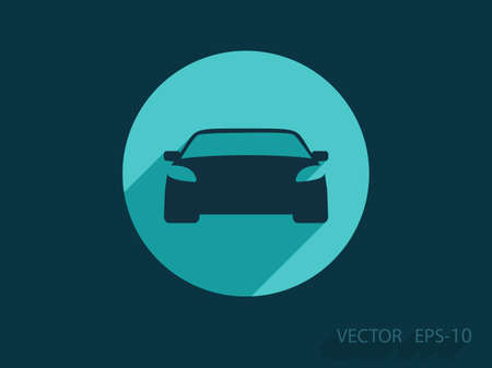 cars parking: Flat long shadow Car icon, vector illustration