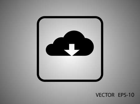 download cloud: Flat icon of download cloud Illustration