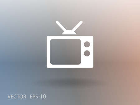 tv: Flat icon of tv Illustration