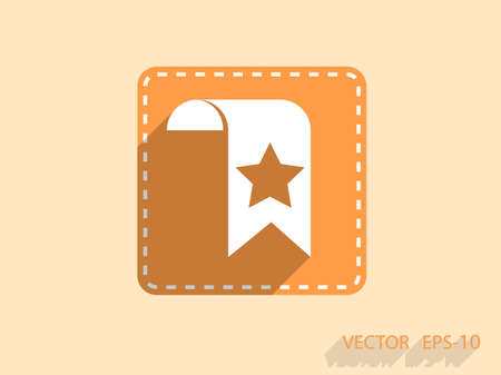 value add: Flat long shadow Favorite bookmark icon, vector illustration Illustration