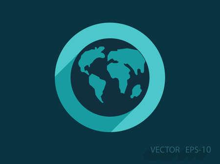 globe: Icone plat du monde