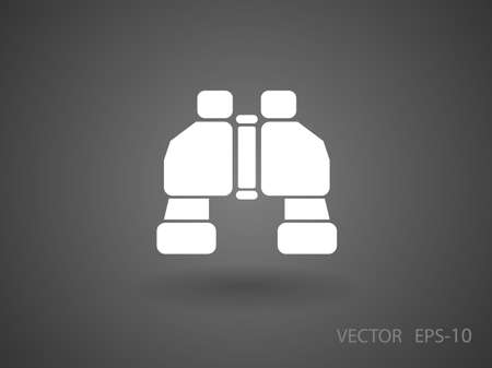 military watch: Flat long shadow Binoculars icon, vector illustration Illustration