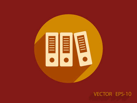 organizer: Flat long shadow Row of binders icon, vector illustration