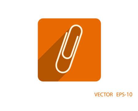 paper fastener: Flat long shadow Paperclip icon, vector illustration Illustration
