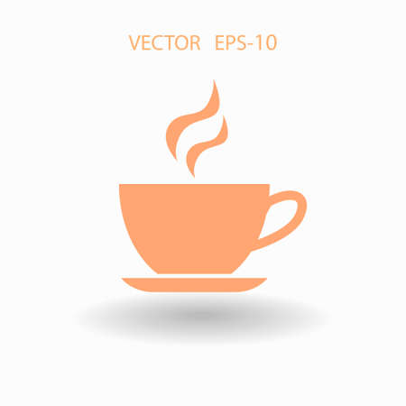 long drink: Flat long shadow Cup of hot drink icon, vector illustration Illustration