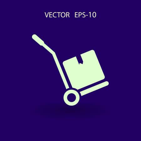 handtruck: Flat long shadow Hand truck icon, vector illustration Illustration