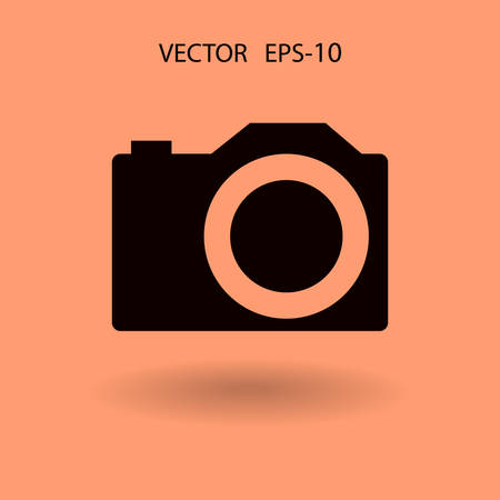 focus on shadow: Flat icon of a camera