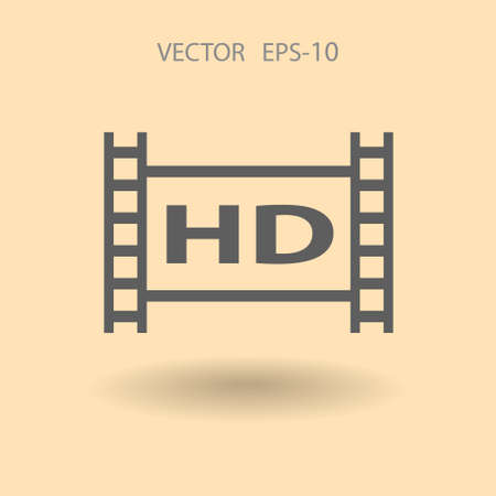 hd: Flat icon of hd video