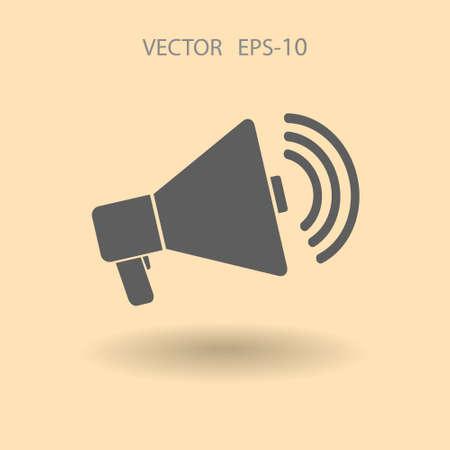 communicate  isolated: Flat icon of megaphone Illustration