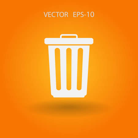 paper basket: Flat a paper basket icon. vector. Illustration