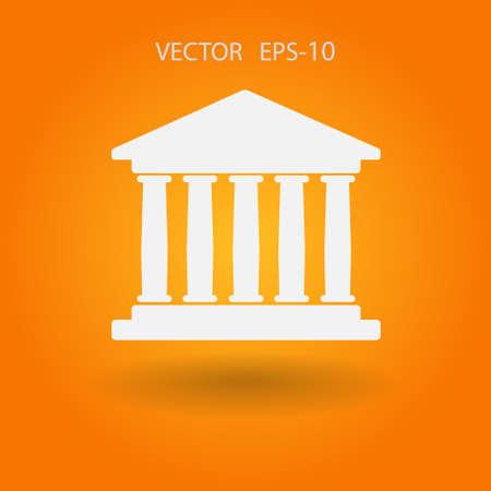 derecho romano: Icono plano de edificio del banco