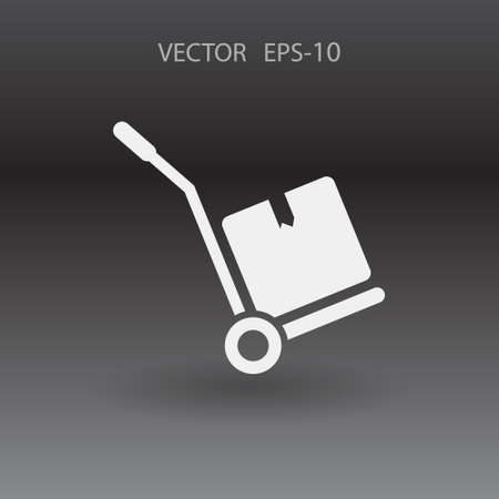 hand truck: Flat long shadow Hand truck icon, vector illustration Illustration