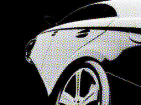 White Sport Car on black background stylized in color halftones