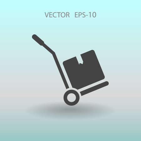 hand truck: Flat Hand truck icon, vector illustration Illustration